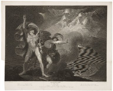 Macbeth, act I, scene III, a heath - Macbeth, Banquo, & three witches ... [graphic] / painted by H. Fuseli ; engraved by Jas. Caldwall.