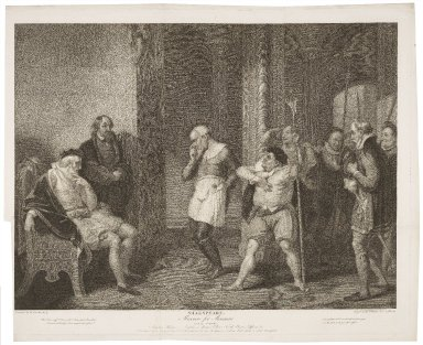 Measure for measure, act II, scene I, Angelo's house--Escalus, a justice, Elbow, Froth, Clown, officers, &c. [graphic] / painted by R. Smirke ; engraved by T. Ryder & C.G. Playter.
