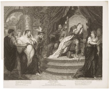 Measure for measure, act V, scene 1, duke in a friar's habit, Varrius, lords, Angelo, Escalus, Lucio, and citizens, Isabella, Peter, Mariana ... [graphic] / painted by Thos. Kirk ; engraved by I.P. Simon.