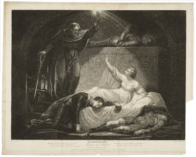 Romeo and Juliet, act V, scene III, Jul. [wakening]: O comfortable friar, where is my lord ... [graphic] / painted by Jas. Northcote ; engrav'd by P. Simon.