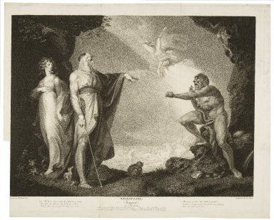 Tempest, act I, scene II, the inchanted [sic] island : before the cell of Prospero -- Prospero, Miranda, Caliban, & Ariel ... [graphic] / painted by H. Fuseli ; engraved by I.P. Simon.