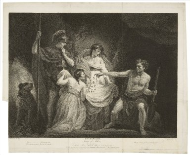 Timon of Athens, act IV, scene III, a wood, Timon, Alcibiades, Phrynia, and Tymandra ... [graphic] / painted by John Opie ; engraved by Robt. Thew.