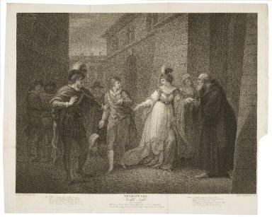 ...Twelfth night, act V, scene I, the street: Duke, Viola, Antonio, officers, Olivia, priest & attendants... [graphic] / painted by Wm. Hamilton ; engraved by F. Bartolozzi.