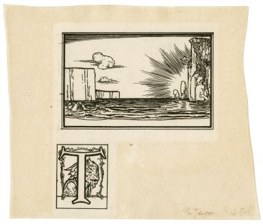 [Illustration and illuminated initial letter for first page of act 3, scene 2 of The tempest] [graphic] / R.A. Bell.