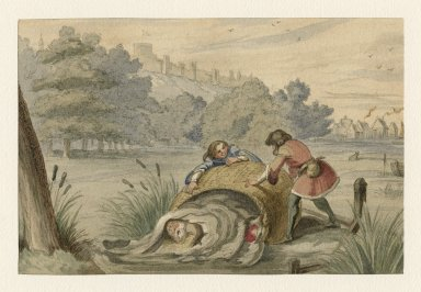 [Merry wives of Windsor, III, 3, Falstaff being put into the muddy ditch] [graphic] / [George Cruikshank].