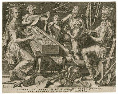 Concentum inter se, et discrimina grata sonorum aure erudita deprehendit musica [graphic] / FF, inue[ni]t.