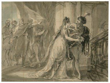 Cymbeline, I, 1, Posthumus placing the bracelet on Imogen's arm [graphic].