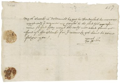 Letter from Walter Bagot to Elizabeth Bagot (his wife)