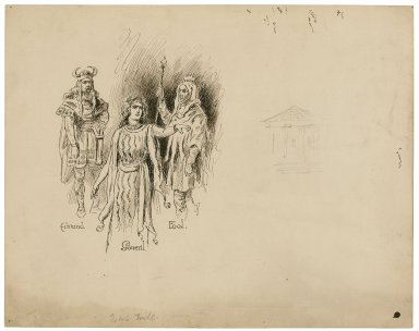 [King Lear, studies for the characters] Edmund, Goneril, [and] Fool [graphic] / [Herbert Railton].