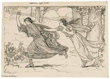Midsummer night's dream, [Hele]na pursues Demetrius [graphic] / [Louis Rhead].