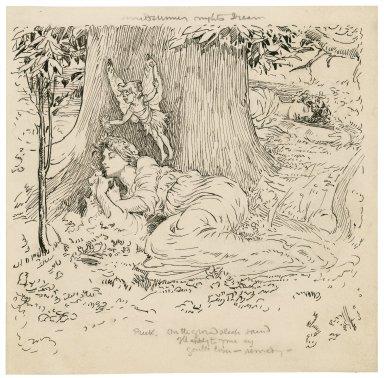 Midsummer night's dream, Puck: On the ground sleep sound ... [graphic] / [Louis Rhead].