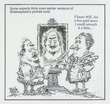 Some experts think even earlier versions of Shakespeare's portrait exist [graphic] / Peterson, Vancouver Sun.