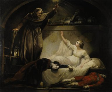 Romeo and Juliet, act V, scene III [graphic] : Monument belonging to the Capulets : Romeo and Paris dead, Juliet and Friar Laurence / Painted by Mr. Northcote, R.A.