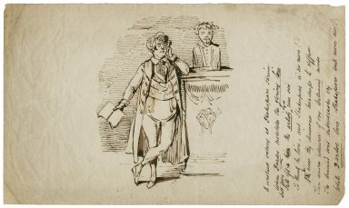Thackeray reciting before the bust of Shakespeare [graphic] / William Makepeace Thackeray.