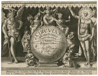 Circulus vicissitudinis rerum humanarum [graphic] / edebat Philippus Gallaeus ; ludebat Cornelius Kilianus Dufflaeus ; M. de Vos inuent. ; Ioan. Collaert sculp.