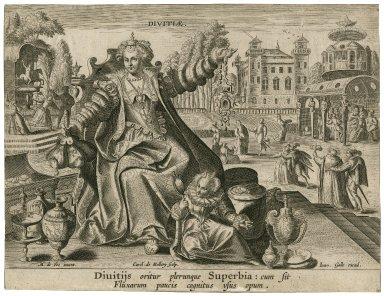 Diuitijs oritur plerunque superbia: cum sit fluxarum paucis cognitus vsus opum [graphic] / M. de Vos inuent. ; Carol. de Mallery sculp.