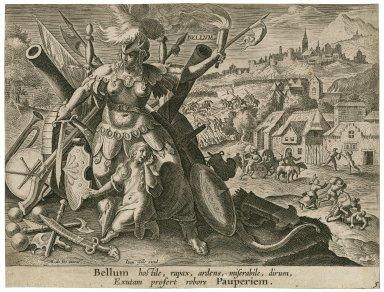 Bellum hostile, rapax, ardens, miserabile, dirum, exutam profert robore pauperiem [graphic] / M. de Vos inuent.