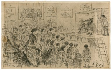 Caricature of a production of a school play [graphic] / [Michel Angelo Woolf].