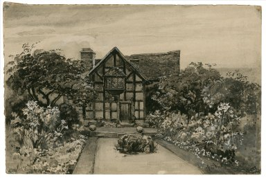 Shakespeare's garden (back view of the birthplace from garden) [graphic] / A.C. Wyatt.