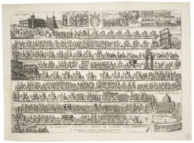 La caualcata con le sue cerimonie del pontefice nuouo quando piglia il possesso a Santo Giouanni Laterano [graphic] / L.R.F.