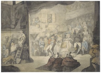 [The witches in a performance of Macbeth, as seen from backstage] [graphic] / [Thomas Rowlandson].