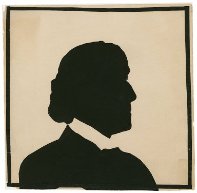[Cut-paper silhouette of Henry Irving made at the Garrick Club in 1899] [graphic] / [W. Bly].