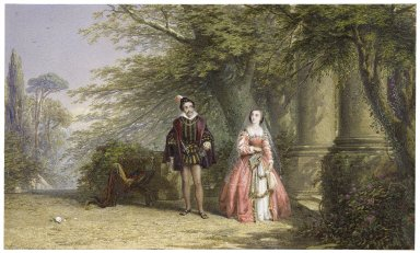 """Much ado about nothing, II, 3, Beatrice and Benedick, Beatrice: """"Against my will I am sent to bid you come in to dinner"""" [graphic] / J.E. Buckley, 1854."""