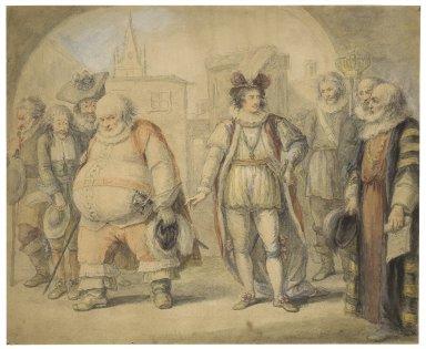 King Henry IV, pt. II, V, 8, Falstaff reproved by King Henry [graphic] / [Henry William Bunbury].