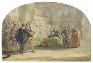 [Merchant of Venice, act 4, scene 1, the trial scene] [graphic] / Frederic Holding, 1853.
