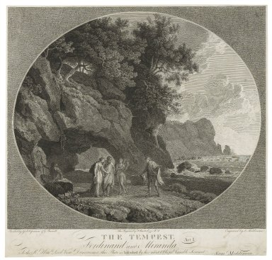 The Tempest, Ferdinand and Miranda, act I [graphic] / painted by G. B. Cipriani & G. Barrett ; the figures by F. Bartolozzi R.A. ; engraved by S. Middiman.