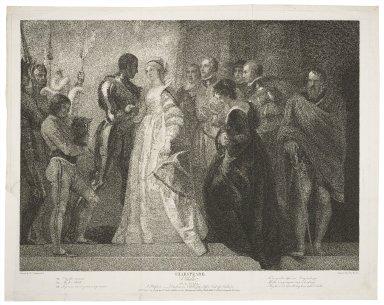 Othello, act II, scene I, a platform--Desdemona, Othello, Iago, Cassio, Roderigo, Emilia, &c. [graphic] / painted by Thos. Stothard ; engraved by Thos. Ryder.