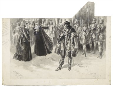 """[King Richard III, IV, 3, at the Lyceum Theatre, Tower Hill: """"Thou toad, thou toad, where is thy brother, Clarence?"""", December 26, 1896, Sir Henry Irving as Richard, Genevieve Ward as the Queen] [graphic] / J. Jellicoe ; Herbert Railton."""