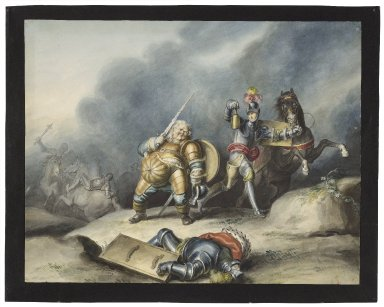 King Henry IV, pt. 1, III, 5, Prince Henry and Falstaff on plain near Shrewsbury [graphic] / [Johann Heinrich Ramberg].