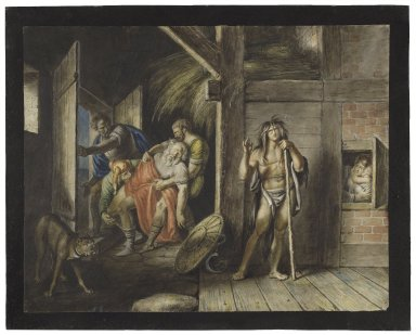 King Lear, III, 6, chamber in a farm house, Kent, Gloucester, and fool bearing the king [graphic] / [Johann Heinrich Ramberg].