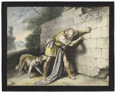 """King Lear, III, 7, Reg.: """"Go thrust him out at gates, and let him smell his way to Dover"""" [graphic] / [Johann Heinrich Ramberg]."""