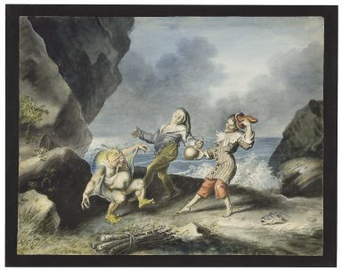 The tempest, II, 2, Caliban, Stephano and Trinculo on seashore [graphic] / [Johann Heinrich Ramberg].