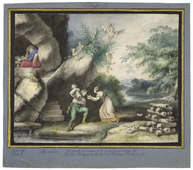 """The tempest, III, 1, Miranda: """"If you'll sit down, I'll bear your logs the while, pray give me that, I'll carry't to the pile"""" [graphic] / [Johann Heinrich Ramberg]."""
