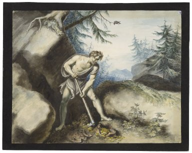 Timon of Athens, IV, 3, Timon laying aside the gold [graphic] / [Johann Heinrich Ramberg].