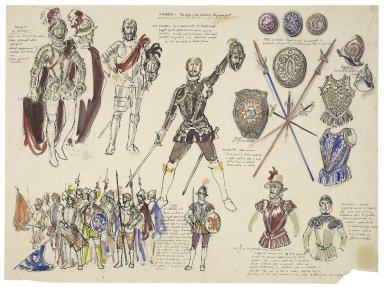 Sheet of designs for military dress and weapons for Macbeth with notes