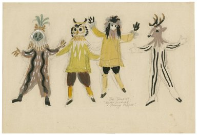 "Sheet of sketches for costumes for the ""Strange Shapes,"" the Tempest"
