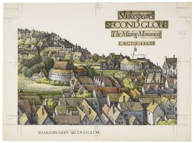 Jacket design for Shakespeare's Second Globe. Enlargement of Hollar etching of Globe and 'Bear Bayting' house, mounted and tinted with colored inks