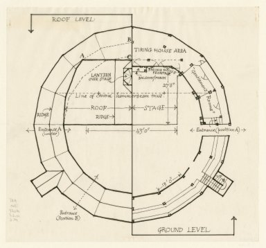 Floor plan of the Second Globe with measurements