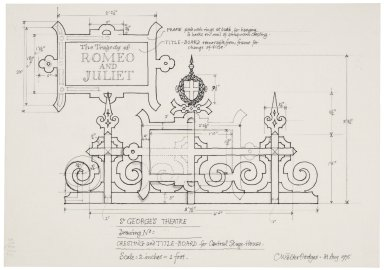 St. Georges Theatre, design for cresting and title-board for central stage-house