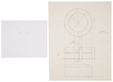 Sketch of architectural detail and projection drawing of the Detroit Globe