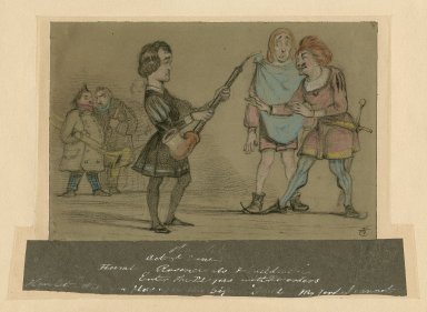 """Hamlet act 3rd, scene 2d ; Hamlet, Rosencrants & Guildenstern ; enter the players with recorders ; Hamlet: """"Will you play upon this pipe?"""" Guild: """"My lord, I cannot"""" [graphic] / J.T. [monogram]"""