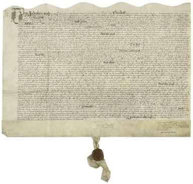 Bargain and sale from Edward de Vere, Earl of Oxford, to Richard Bowser, citizen and saddler of London [manuscript], 1584 June 26.