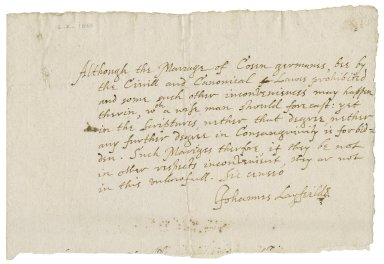 Opinion of John Layfield as to the propriety of the marriage of cousins german