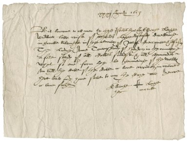 Acquittance from Ellinge Legge to Lady Anne (Bacon) Townshend