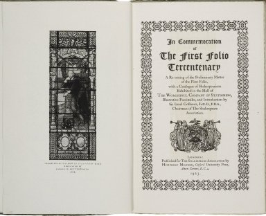 In commemoration of the First folio tercentenary; a resetting of the preliminary matter of the First folio, with a catalogue of Shakespeariana exhibited in the hall of The worshipful company of stationers ...