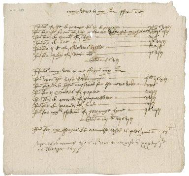 Account between Richard Manser, servant and Nathaniel Bacon